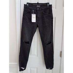 Zara Distressed Frayed Skinny Jeans